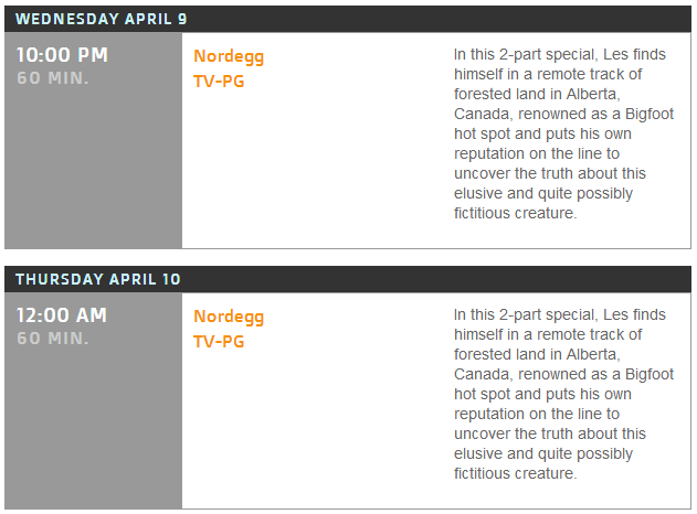 Survivorman Bigfoot Schedule