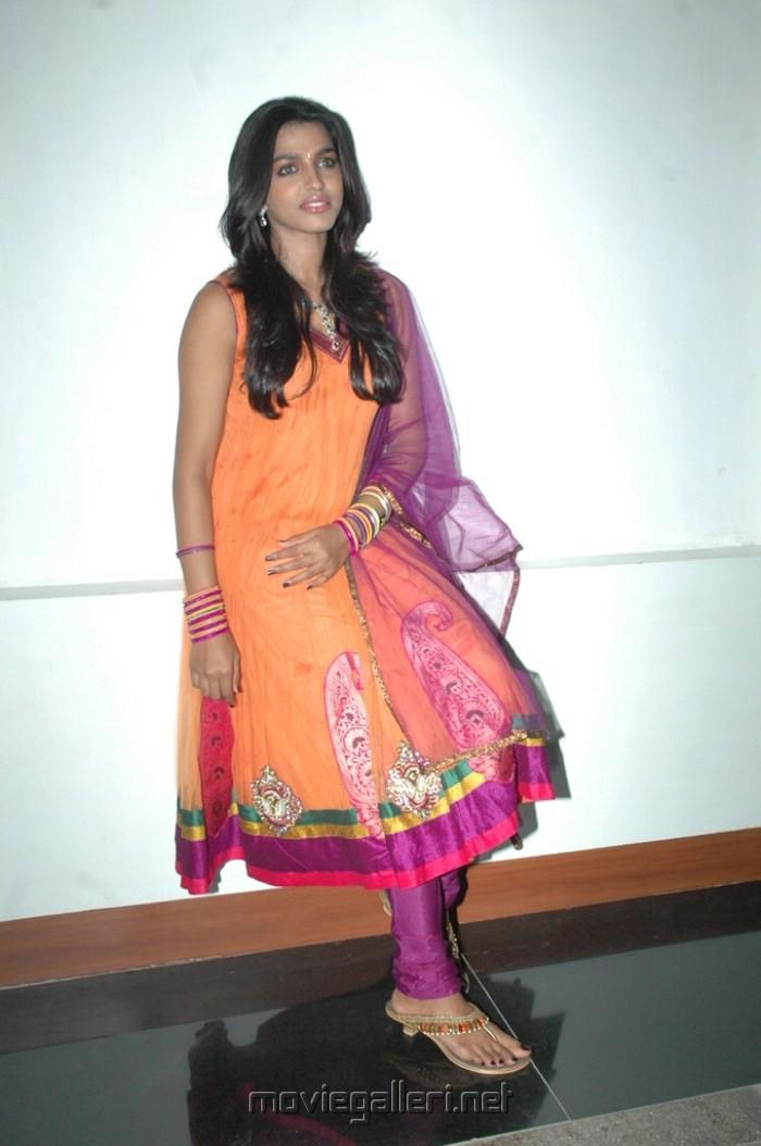 , Dhanshika Pics In Orange Anarkali Suit