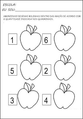 Projeto Pedagógico - Projeto Alimentação Saudável - Projetos para Educação Infantil - Pinte a quantidade indicada