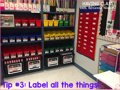 label book shelf box management teacher hack back to school organization