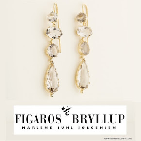 Crown Princess Mary Style Figaros Bryllup Smoke Quartz Earrings