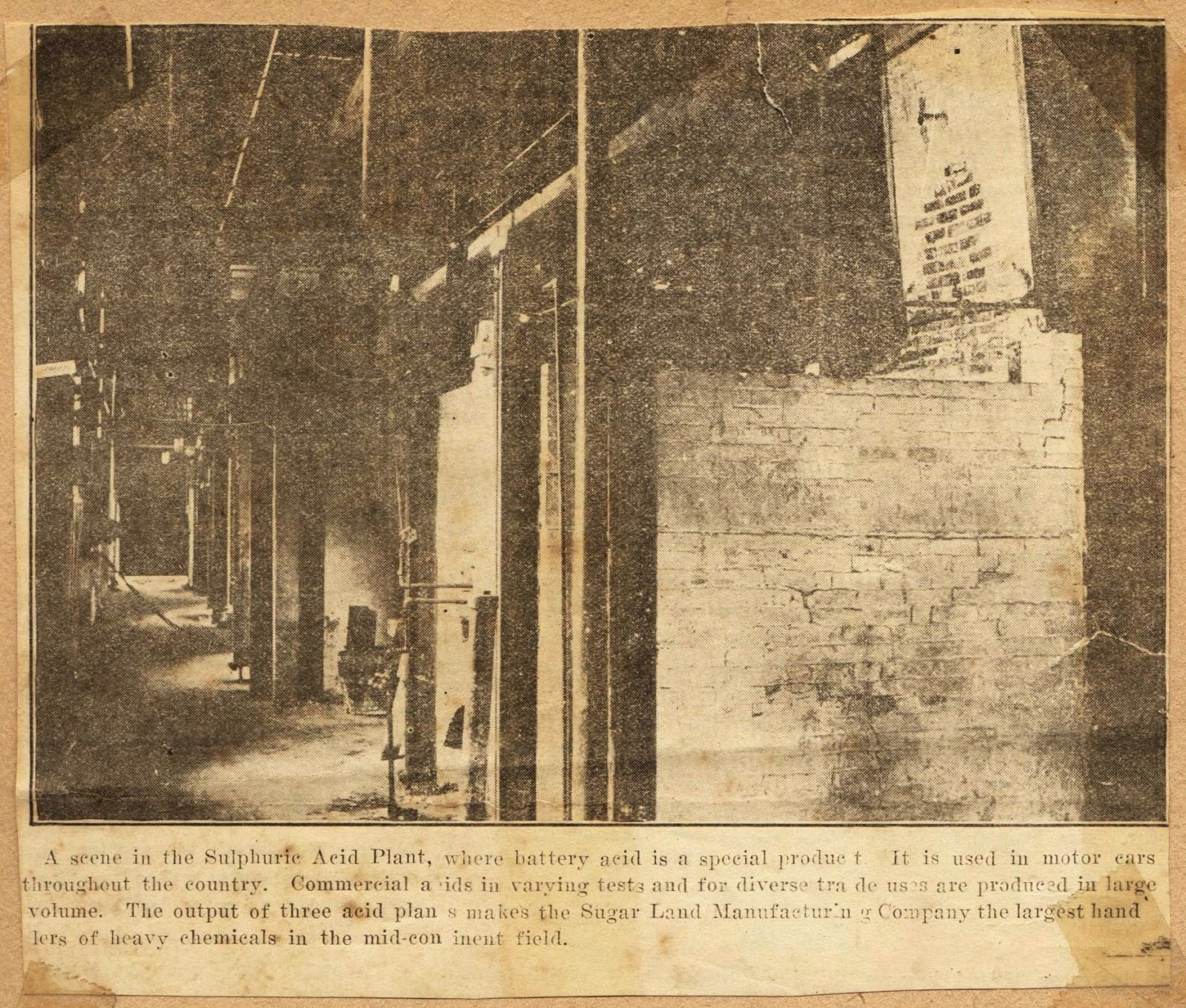 How to scrapbook newspaper articles - I M Not Sure What To Make Of The Photo S Caption It Says The Sugar Land Manufacturing Company A Subsidiary Of Sugarland Industries Made Battery Acid In