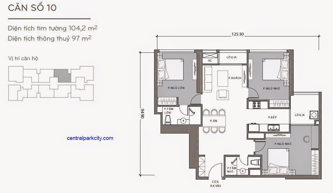 Căn hộ Landmark 1 - kiểu nhà số 10 - 104.2m2 - 3PN
