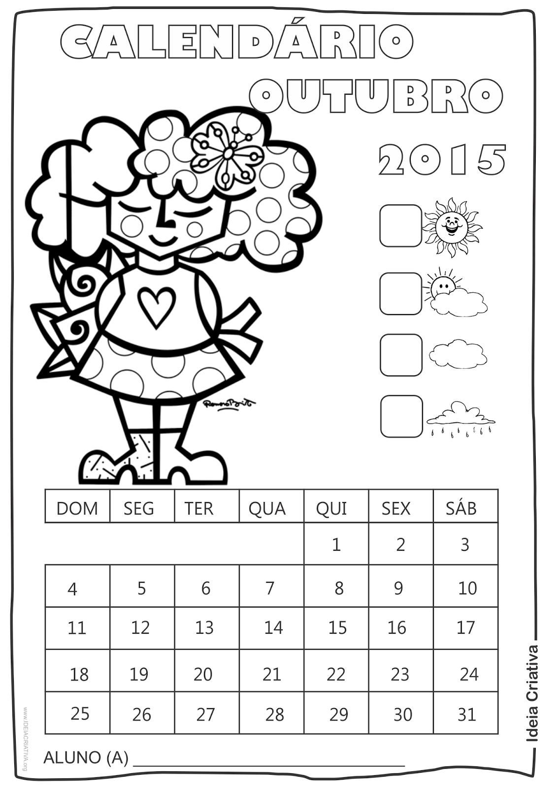 Calendário Outubro 2015 com Desenho Criança de Romero Britto para Colorir