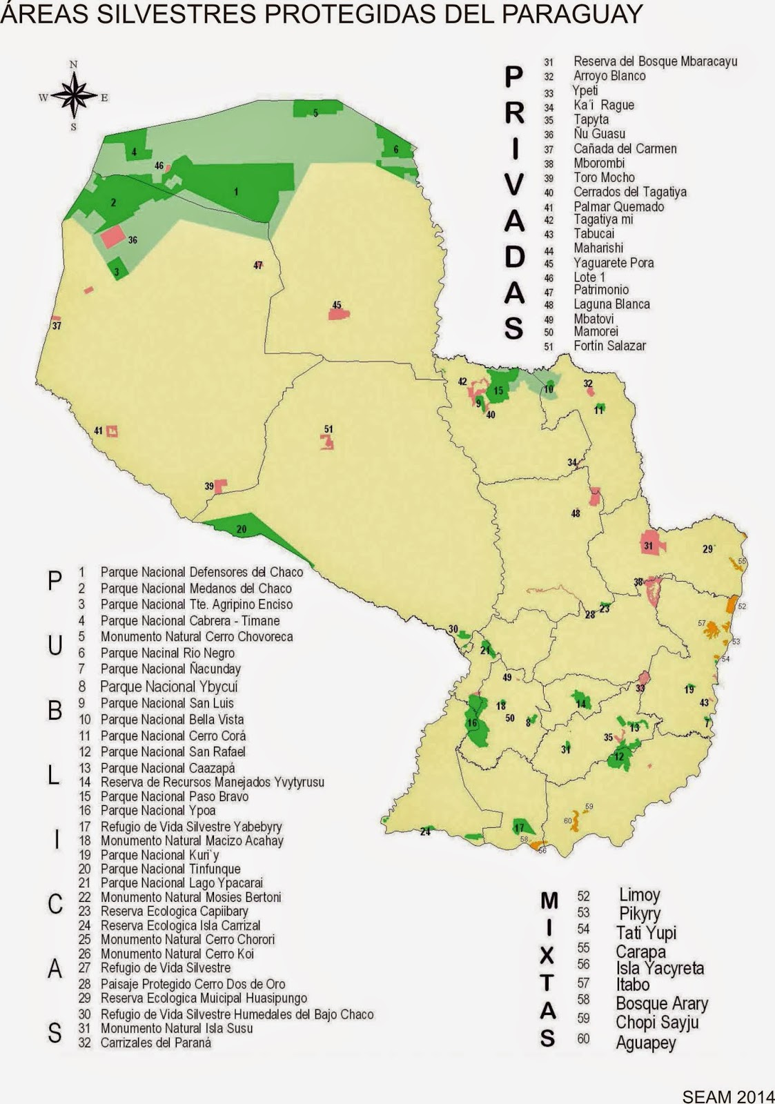 according to the map there are now 62 protected wild areas 32 public protected areas 21 private protected areas 9 mixed protected areas