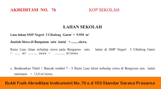 Bukti Fisik Akreditasi Instrument No.76 s.d 103 Standar Sarana Prasarana | Berkas Sekolah
