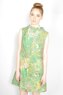 Vintage 1960's green mod op-art swirl print mini sleeveless dress.