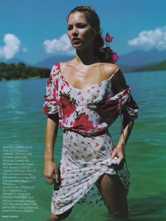 kate moss 90's floral dress Vogue 1997