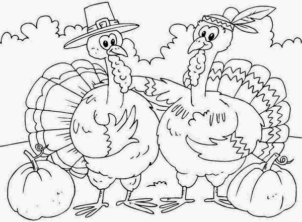 Cartoon Thanksgiving Coloring Pages Printable