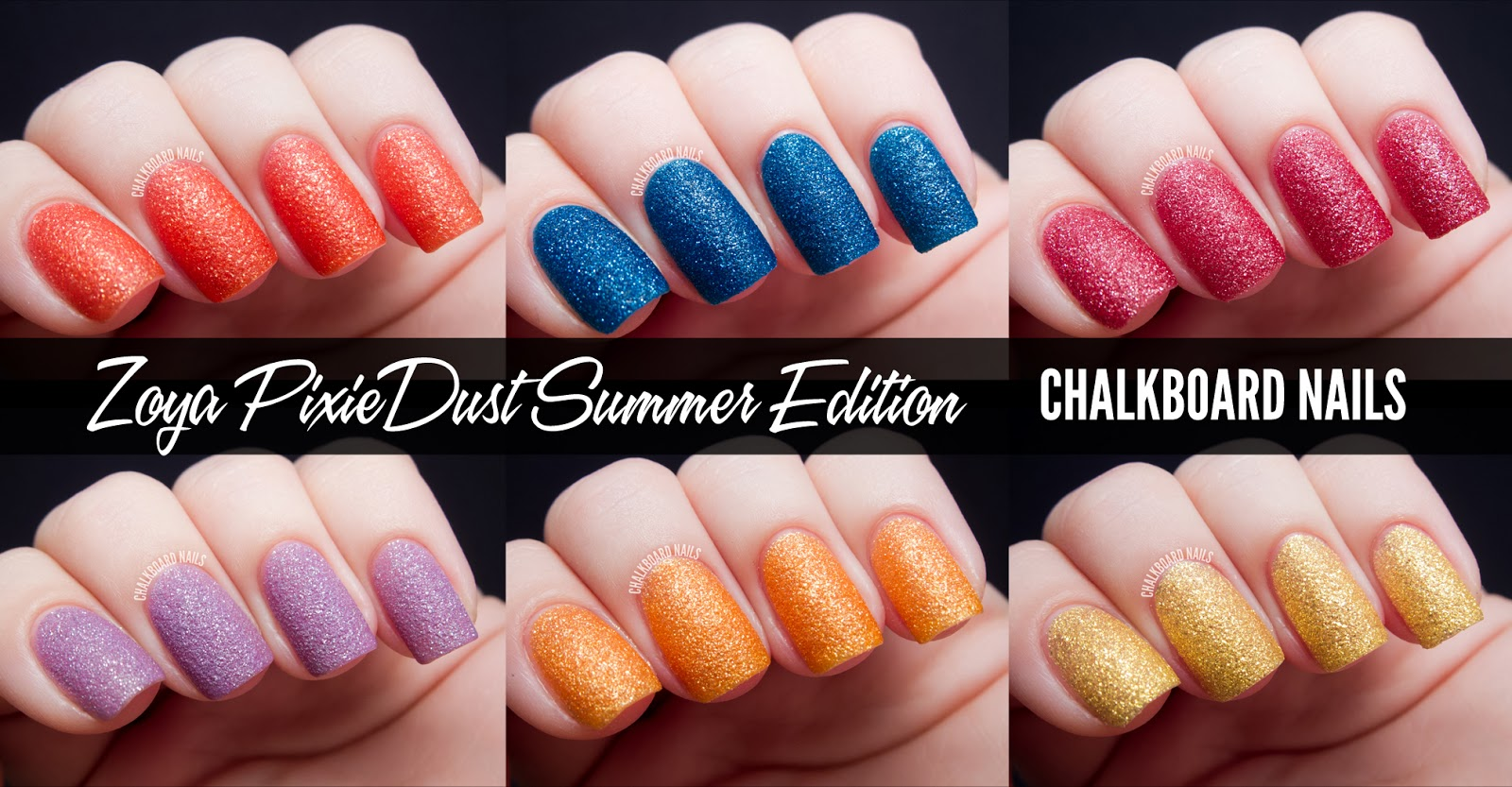 Chalkboard Nails Zoya PixieDust Summer Edition