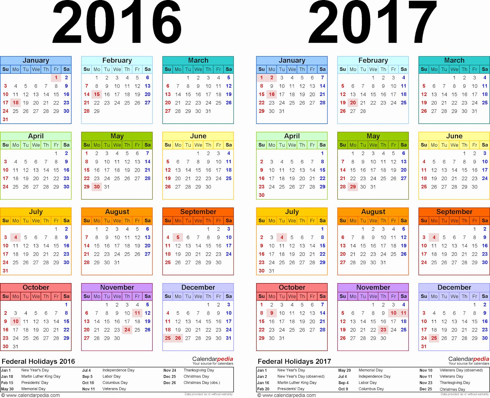 2017 School Calendar – Printable Pages