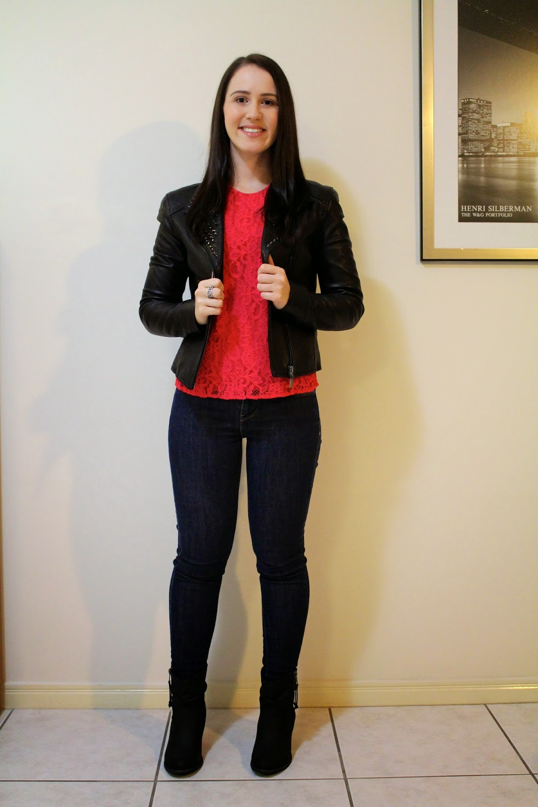 My Birthday Outfit: Pop of Red & Leather | Brie's Petite World