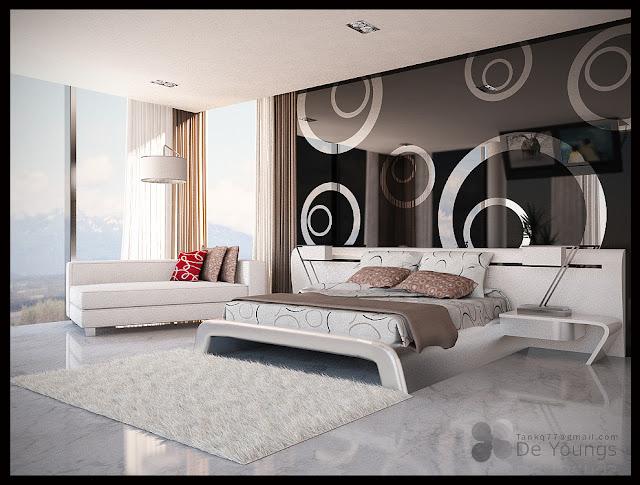 DORMITORIO BLANCO Y NEGRO CON EFECTO EN EL ESPEJO by dormitorios.blogspot.com