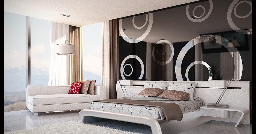 Dormitorios blanco y negro con efectos en pared dormitorios fotos de dormitorios im genes de habi - Espejo adhesivo ...