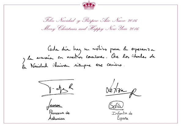 Princess Sofia of Spain and Princess Leonor of Spain on the 2015 Christmascard