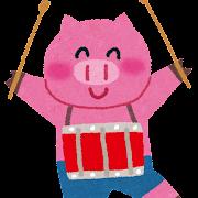 ブタと小太鼓のイラスト(動物の音楽隊)