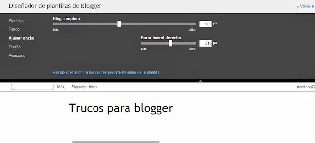 cambiar ancho de blogger