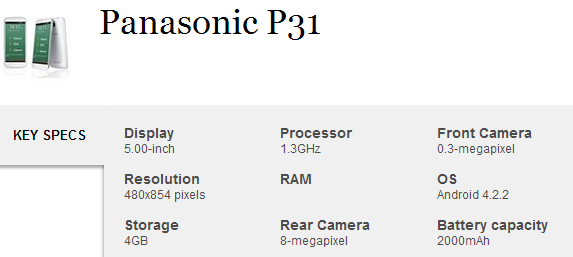 Panasonic P31 Key specs