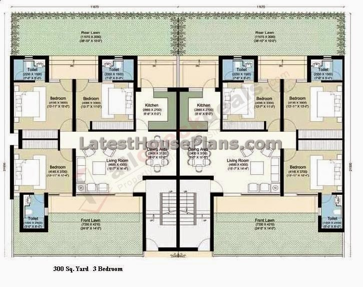 300 square yards 3 bhk row house plan latest house plans 3bhk house plan