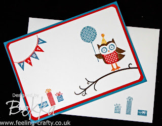 Adorable Owl Party Card made using the Owl Occasions Stamp Set by Stampin' Up! Demonstrator Bekka Prideaux www.feeling-crafty.co.uk