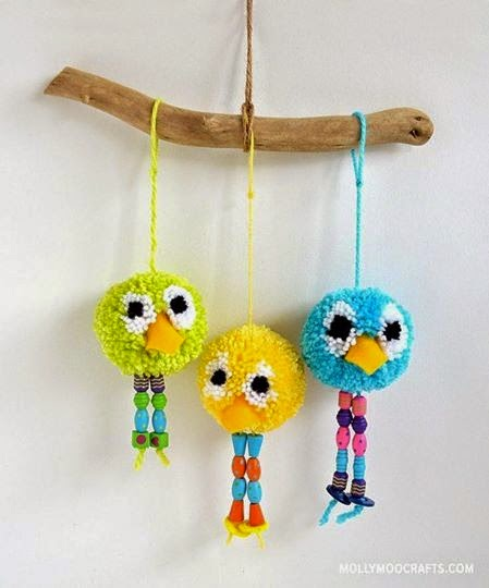 Creamalice do it yourself diy oiseaux pompons laine - Modele de pompon en laine ...