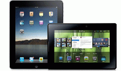 Two Tablet Pcs Named The Apple Ipad And Blackberry Playbook