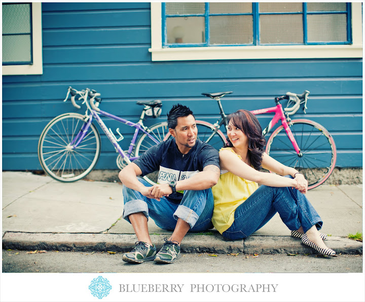 Bay area city scene engagement photography with bikes on street