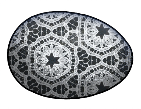 easter eggs clipart black and white. White Lace pattern over lack