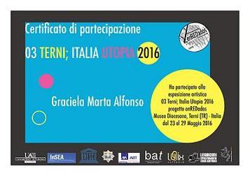 """Certificado de Participación """"UTOPÍA TERNI"""" Italia"""