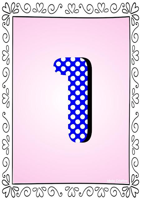 Numerais de Poá colorido com bordas 1