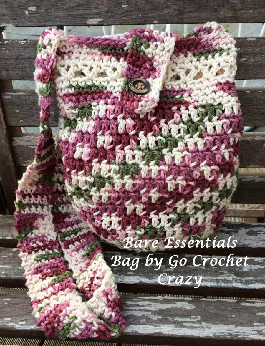 Bare Essentials Bag -- a cotton yarn crochet purse in a hipster style -- by Go Crochet Crazy.