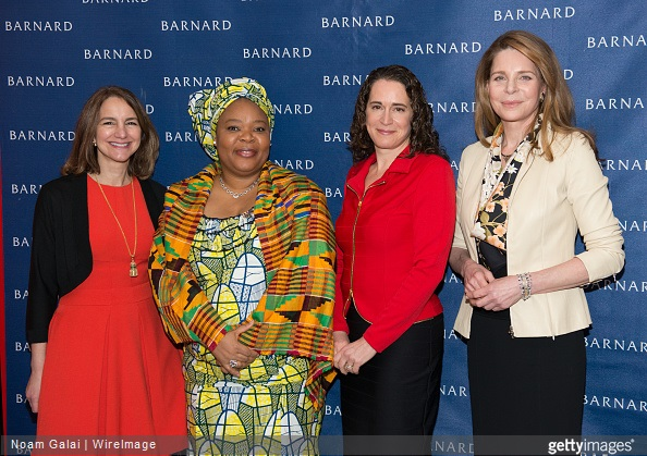 Chair of Board of Trustees at Barnard College Jolyne Caruso-FitzGerald, activist and Nobel Peace Prize Winner Leymah Gbowee, President of Barnard College Debora Spar and Her Majesty Queen Noor of Jordon attend Barnard College's 7th Annual Global Symposium at Barnard College