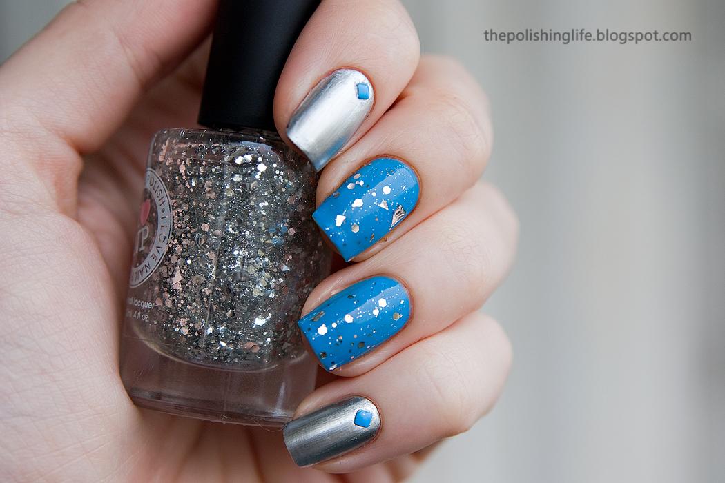 Metallic Nails with Kiko 616 Silver Mirror & 295 Cerulean Blue, I Love Nail Polish (ILNP) Silver Spoons + Born Pretty neon studs