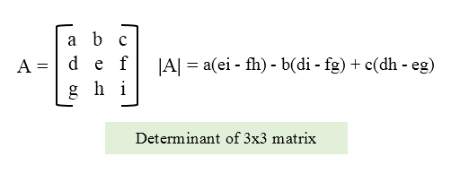 Formula to calculate determinant of 3x3 matrix