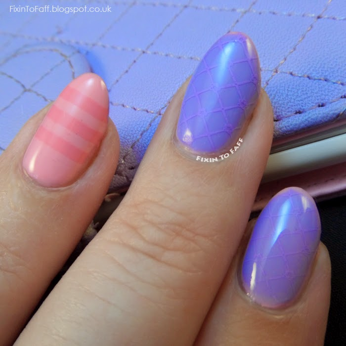 Lavender quilted phone case stamped nail art