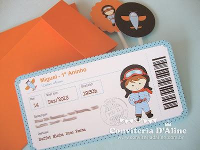 Convite Infantil tema Aviador