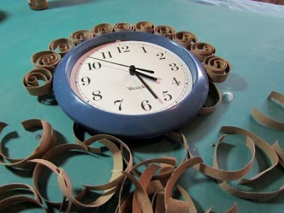 recycled toilet paper tubes faux brass wall clock2
