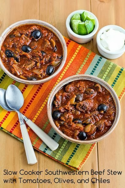 This Slow Cooker Southwestern Beef Stew with Tomatoes, Olives, and Chiles found on KalynsKitchen.com