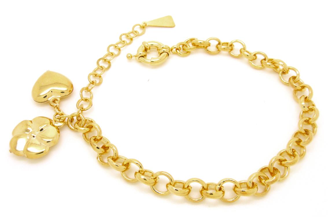 pulseira com pingentes dourada