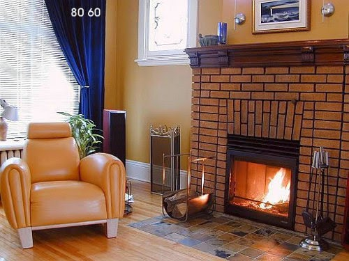 modern brick fireplace design
