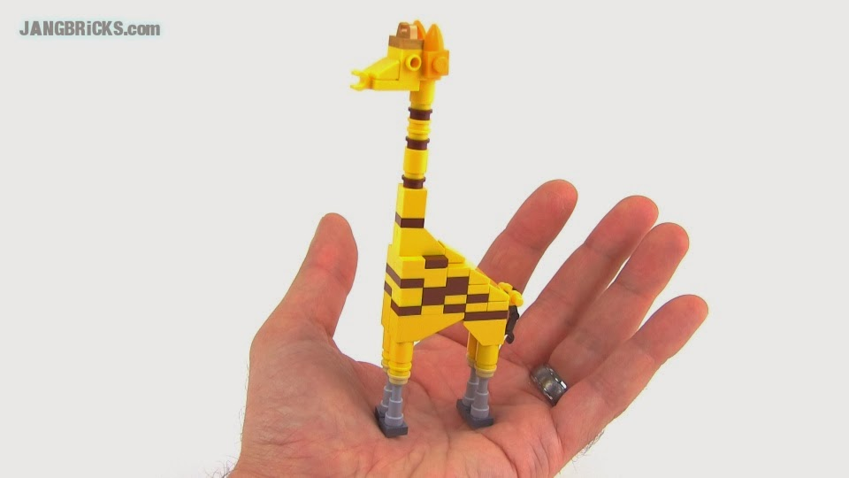 LEGO Giraffe version 3, and an African Forest Buffalo MOC Zoo Animals Toys