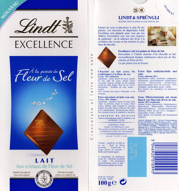 tablette de chocolat lait gourmand lindt excellence lait à la pointe de fleur de sel