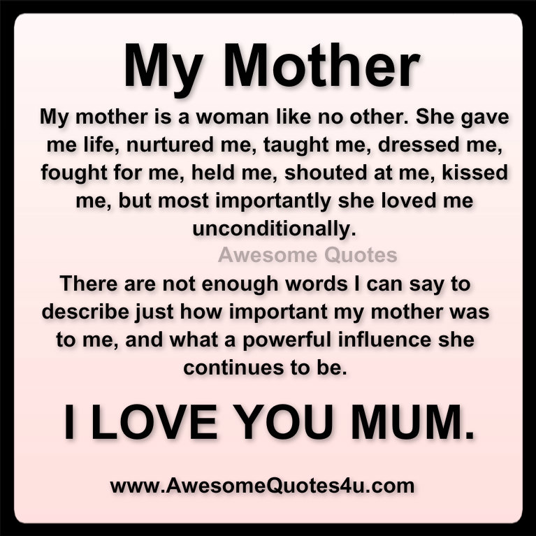 I Love You Quotes Mom : Awesome Quotes: i love you mom ....