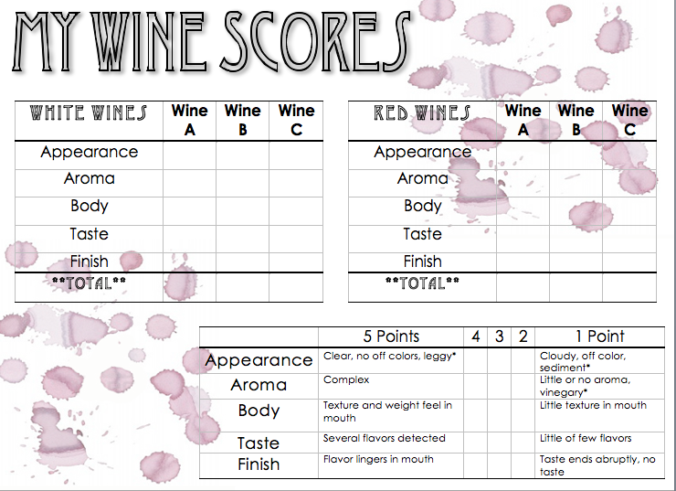 Proud expressions october 2011 for Wine tasting sheet template