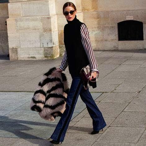 Olívia Palermo - Moda anos 70 calças ganga, casaco pelo