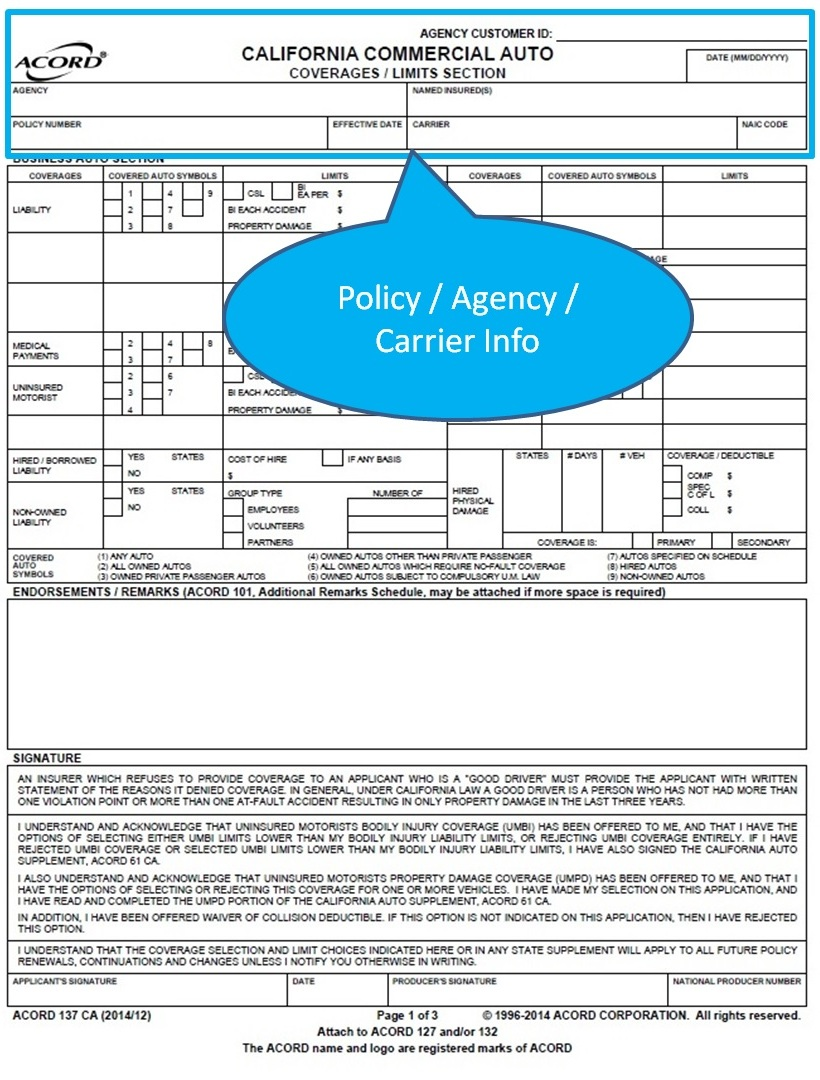 Simply Easier Acord Forms Acord 137 Ca California