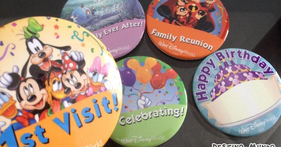 Walt Disney World: buttons comemorativos e gratuitos