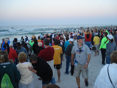 K Tori's Panama City Beach Swimmers had to get into the water, they all start at the same time ...
