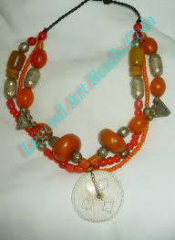Necklace with Amber, Conch Shell