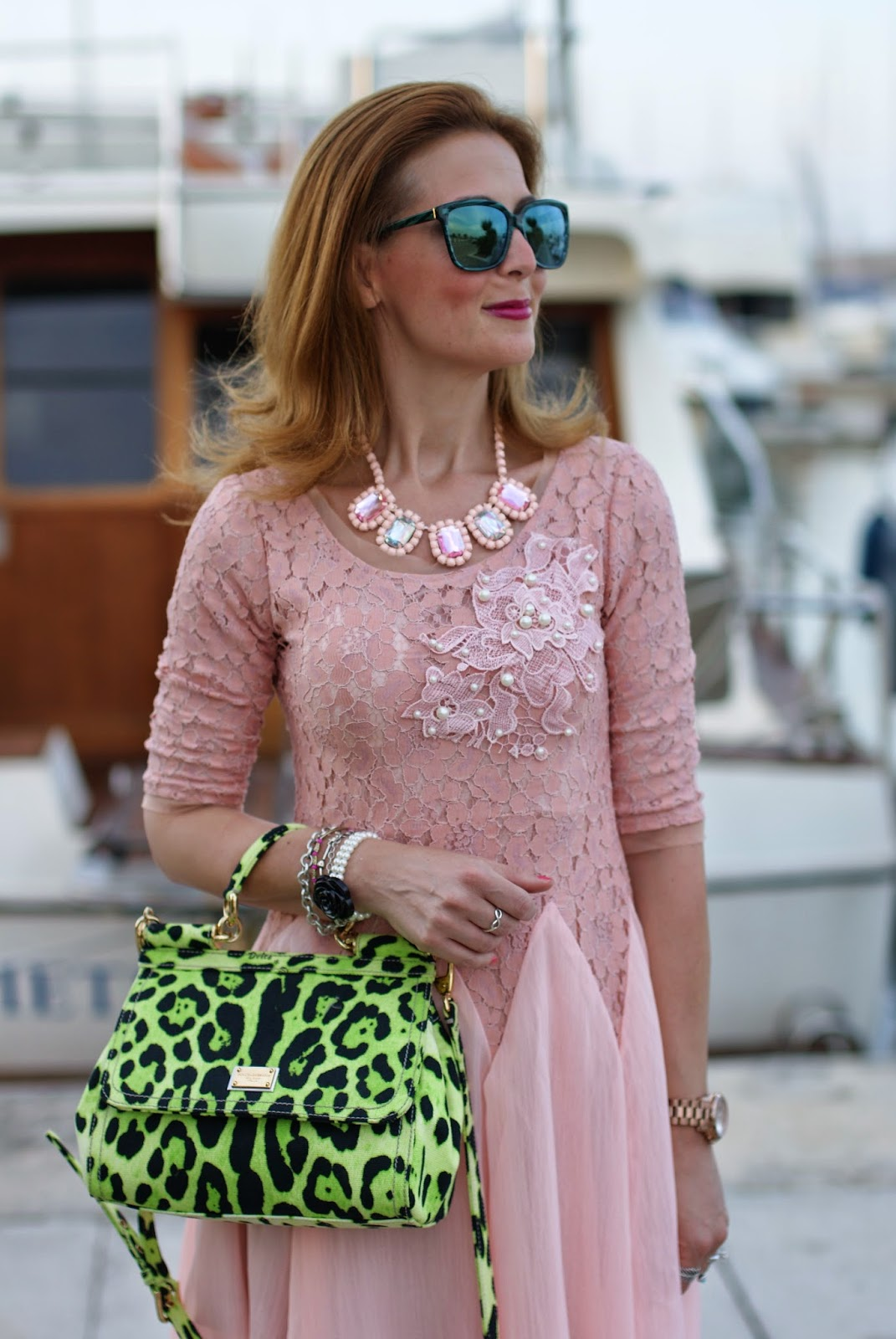cichic ballerina dress, lace and pearls, HYPE GLASS,  pink dress, Miss Sicily green bag, Fashion and Cookies, fashion blogger